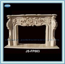 Beige Marble Fireplace Mantel, Natural Marble Fireplace Mantel