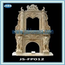 Cheap Natural Marble Fireplace, Beige Marble Fireplaces