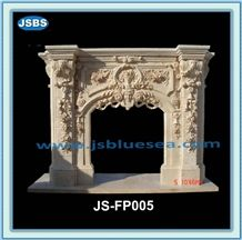 Flower Carving Marble Fireplace, Natural Beige Marble Fireplaces