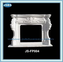 Natural White Marble Fireplace Insert