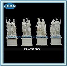 White Roman Soldier Stone Statue