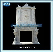 White Stone Fireplace Mantel, Natural White Marble Fireplace Mantel
