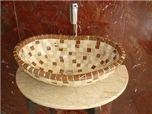 Blanco Nafin Marble and Cafe Tenayo Marble Mix Mosaic Wash Basin