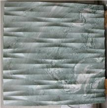 3d Natural Green Interior Wall Stone Decoration, Green Marble Tile