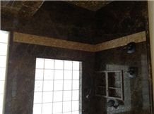 Brown Marble Dark Emperador Design in Bathroom