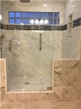 Cararra White Shower with Bench, Cararra White Marble Bath Design