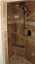 Light Emperador 8mm Laminated Ultra Thin Marble Designed in Bathroom
