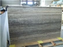 New Silver Travertine/Travertine Gray Vein Cut Slab