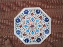 Marble Inlay Pietra Dura Dining Table Top