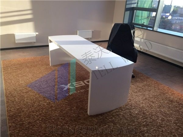 Fancy Design Solid Surface Office Desk Solid Surface Marble Furniture From China Stonecontact Com