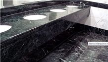 China Black Marquina Marble Countertops,Nero Marquina Vanity Tops,High Quality Black Marble Vanity Tops, White Vein Black Marble