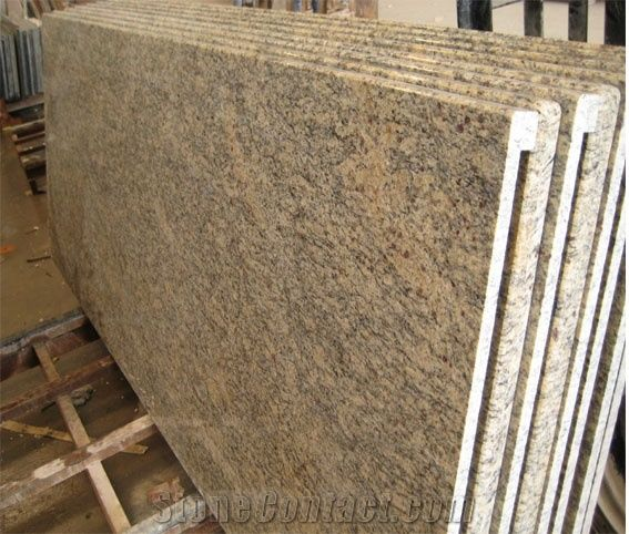Giallo Santa Cecelia Granite Countertop Brazil Pre Fabricated Cecili Yellow Countertops