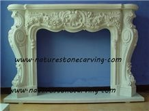 White Marble Fireplace Mantel Handcarved Flower Sculptured Fireplace