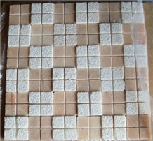 Square Marble Mosaic, Lotus Red Bump Mosaic