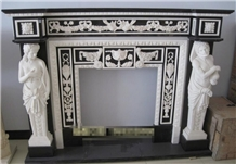Western Figure Carving Marble Fireplace Mantel