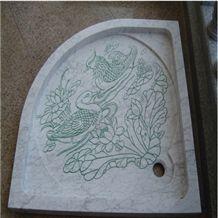 Wellest Bianco Carrara White Marble Fan Shape Shower Base& Shower Tray, Svs010