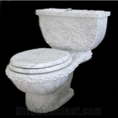 Wellest Bianco Carrara White Marble Toilet Bowl Stone