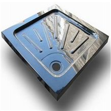 Wellest China Black Granite Square Shower Base& Shower Tray,With Anti-Slip Lines Bath Accessories,Svs003