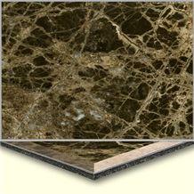 Wellest Dark Emperador Aluminium&Plastic Base Composit Marble Tile,Cma004