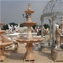 Wellest Exterior Water Spray Beige Marble Fountain,Garden Fountain,Carved Sculpture Fountain,Sfb001