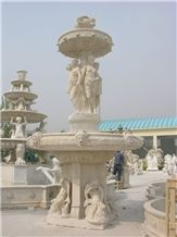 Wellest Exterior Water Spray Beige Marble Fountain,Garden Fountain,Carved Sculpture Fountain,Sfb002