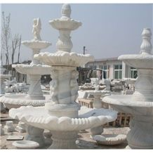 Wellest Exterior Water Spray White Marble Fountain,Garden Fountain,Carved Sculpture Fountain,Sfb005