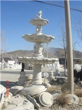 Wellest Exterior Water Spray White Marble Fountain,Garden Fountain,Carved Sculpture Fountain,Sfb008