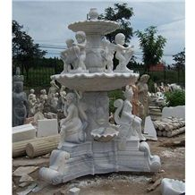 Wellest Exterior Water Spray White Marble Fountain,Garden Fountain,Carved Sculpture Fountain,Sfb009