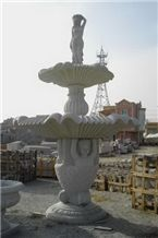 Wellest Exterior Water Spray White Marble Fountain,Garden Fountain,Carved Sculpture Fountain,Sfb014