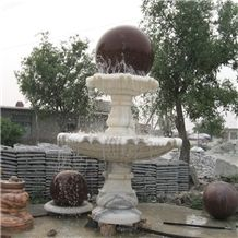 Wellest Exterior Water Spray White Marble Fountain,Garden Fountain,Carved Sculpture Fountain with Indian Red Granite Fortune Ball,Sfb023