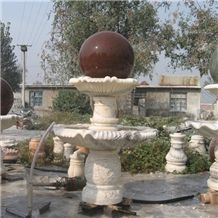 Wellest Exterior Water Spray White Marble Fountain,Garden Fountain,Carved Sculpture Fountain with Indian Red Granite Fortune Ball,Sfb024