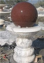 Wellest Exterior Water Spray White Marble Fountain,Garden Fountain,Carved Sculpture Fountain with Indian Red Granite Fortune Ball,Sfb025
