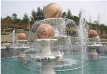 Wellest Exterior Water Spray White Marble Fountain,Garden Fountain,Carved Sculpture Fountain with Sunset Red Marble Fortune Ball,Sfb019