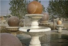 Wellest Exterior Water Spray White Marble Fountain,Garden Fountain,Carved Sculpture Fountain with Sunset Red Marble Fortune Ball,Sfb029