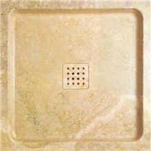 Wellest Giallo Atlantide Beige Marble Square Shower Base& Shower Tray,Bath Accessories,Svs008