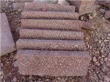Wellest Oceanan Red Granite Kerb Stone, Rough Picked, Side Stone,Road Stone,Kerbstone,Ks013