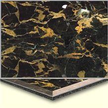 Wellest Portoro Marble on Top,Aluminium&Plastic Base, Composit Marble Tile, Cma002
