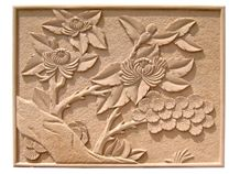Wellest Yellow Sandstone Carved Relief, Flower Embossment, Stone Etching,Decorative Artifacts&Handcrafts,Bc016