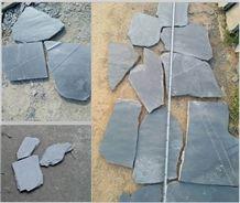 Black Irregular Slate Paving Tiles,