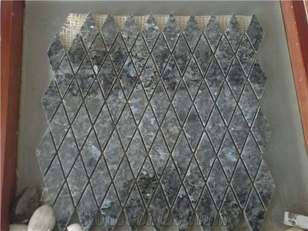 Blue Pearl Granite Mosaic Tiles Lozenge Shape