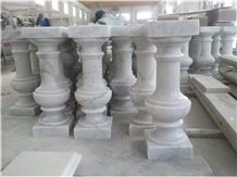 Guangxi White Marble Balustrade,China White Marble Handrail,Marble Stair Rails