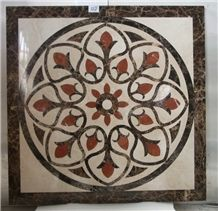 Square Marble Water Jet Medallion