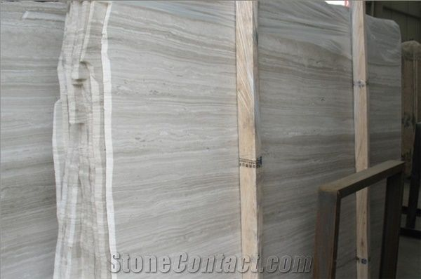 White Wooden Veins Marble Vein Cut Slabs Tile Light Grey