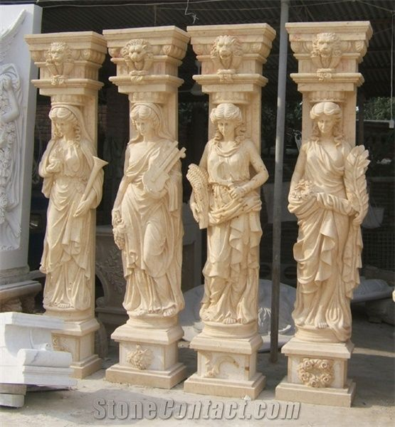 Beige Travertine Columns Roman Pillars Human Figures Hand Carved