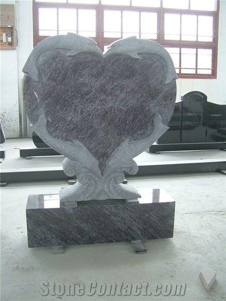Brown Granite Headstone With Fish Carving Heart Granite