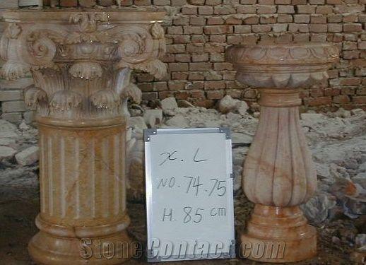 Roman Columns Pillars Hand Carved Yellow Marble Column