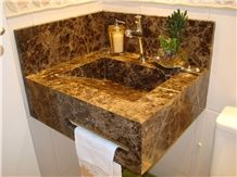 Marron Imperial Marble Solid Bath Sink, Vanity Top