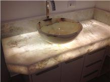 Onix Bianco Bath Top, Onicciato White Onyx Bath Tops