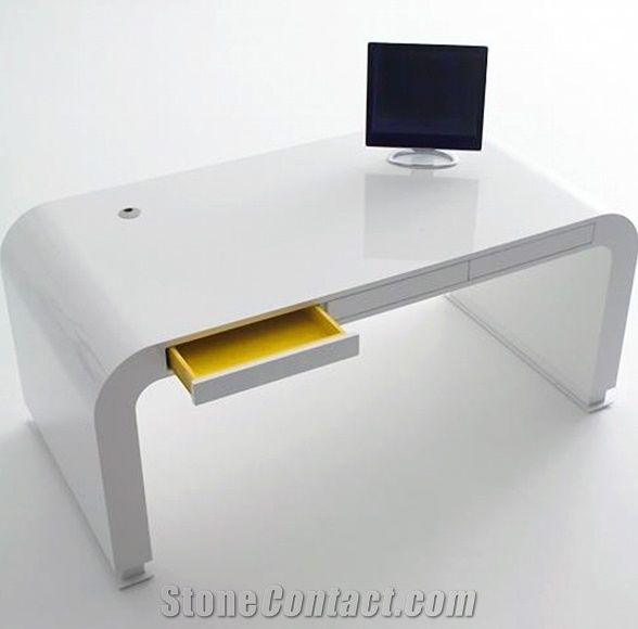 Artficial Marble Modern Drawers Design Office Desk Pure
