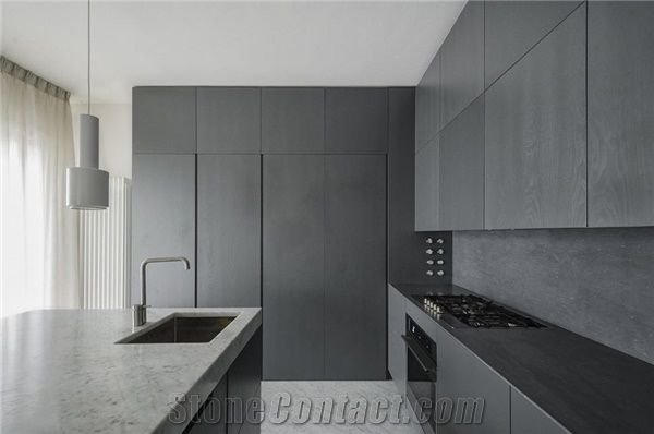 Countertops In Bianco Carrara And Bardiglio Marble Grey